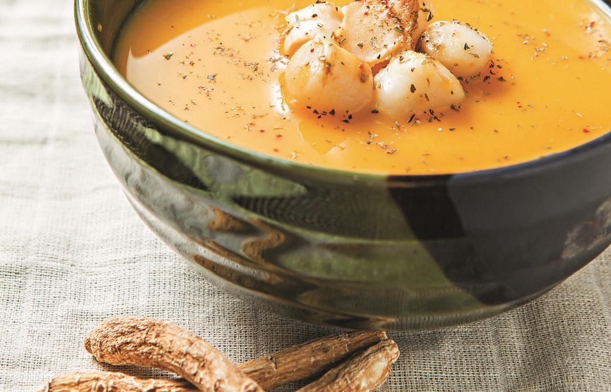 Canadian Ginseng Pumpkin Scallop Soup